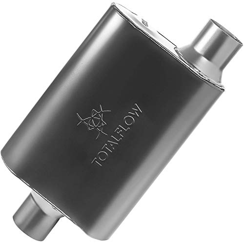 """TOTALFLOW 415042 409 Stainless Steel Two-Chamber Universal Muffler 3"""" Center IN / 3"""" Offset OUT"""