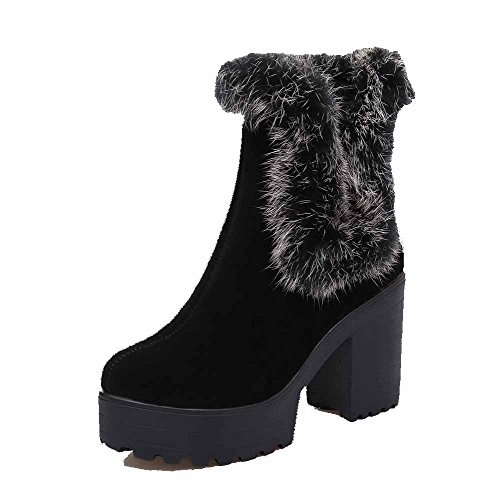 AgooLar Women's Low Top Pull On Frosted High Heels Round Closed Toe Boots Black HzCUo
