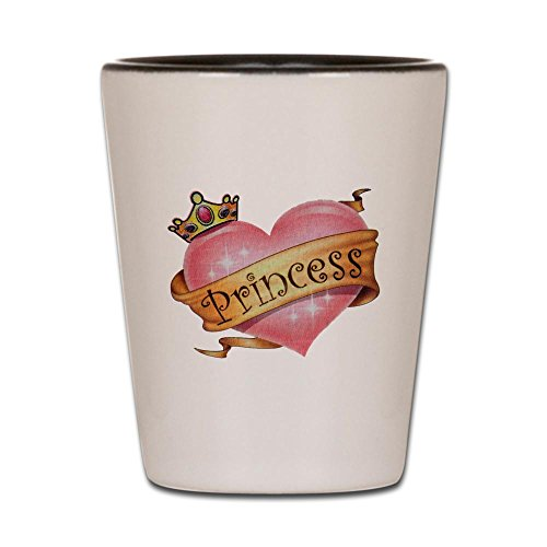 Shot Glass White and Black of Princess Crowned Pink Heart
