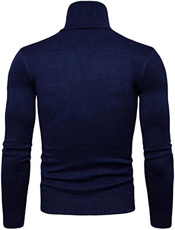 Elonglin Męskie Jumper Sweatshirt, Einfarbig Gr. Large, dunkelblau: Odzież