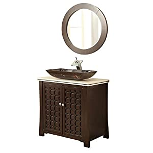 30″ Giovanni Vessel Sink Vanity Cabinet Model HF339A with Matching Mirror