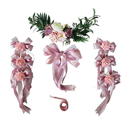 (SM SunniMix Pack of 9 Wedding Car Decor Set DIY Silk Flower Ribbon and Bow Set Limousine Car Head Mirror Door Handle Decor - Dusty Pink, as described)