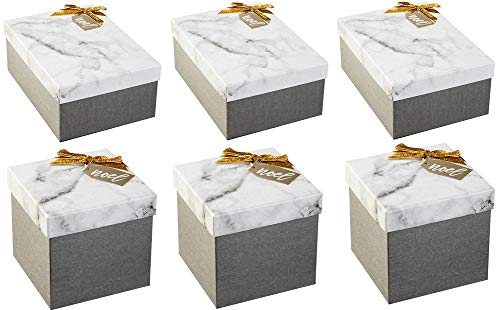 Wondershop Gray Marble 6-Piece Gift Box Kit, 3 Square & 3 Rectangle