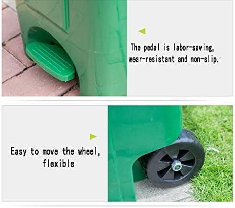 滑らかな表面 ペダルごみ箱、多機能アウトドアストリートごみ箱厚いプラスチックノンスリップ耐摩耗ゴミ箱レストランホテルのごみビン リサイクル可能なデザイン (Color : Green 70L)