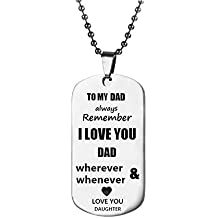 To My Mum or Dad Gifts Always Remember To My Dad and Mum Dog Tag From Dad Mens Women Necklace Military Chain Air Force Pendant Keychain Mother's Day and Father's Day Best Souvenirs