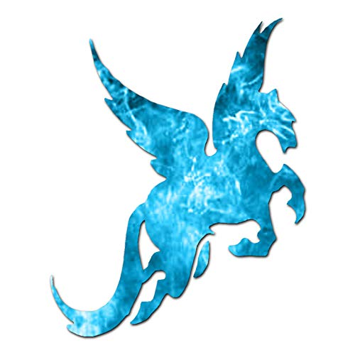 "Pegasus Flying Horse - Vinyl Decal Sticker - 12"" x 15"" - Blue Flames from Southern Decalz"