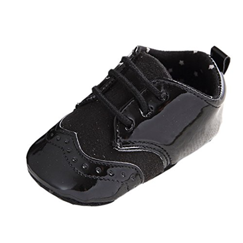 Fire Frog Infant Baby Classic England PU Leather Soft Soled Anti-Slip Toddler Shoes Black 6-12m by Fire Frog