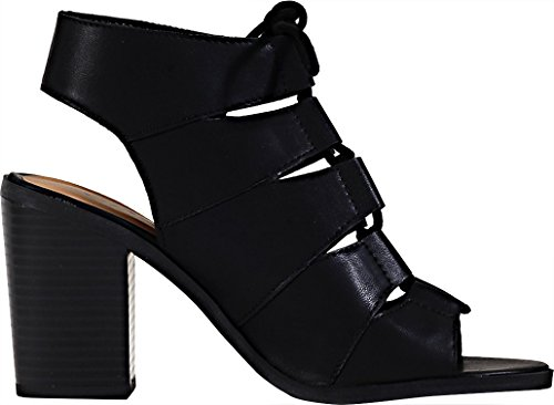 Soda Women's Quince Lace Up Chunky Heel Peep Toe Bootie (7.5 B(M) US, Black PU) by Soda (Image #2)
