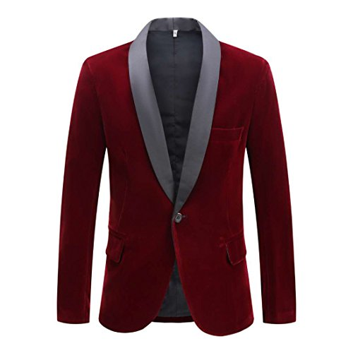 CARFFIV Mens Fashion Velvet Blazer Suit Jacket (Wine red Shawl Lapel, Tag 3XL/US 46R)