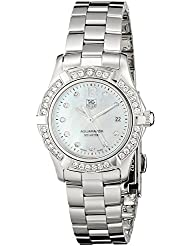 TAG Heuer Womens WAF1416.BA0824 Aquaracer Swiss-Quartz Diamond Mother-Of-Pearl Dial