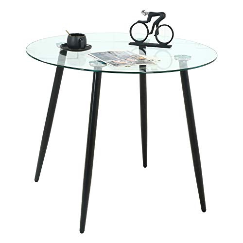STYLIFING Modern Round Glass Dining Table Tempered Glass Top with Sturdy Metal Legs for Dining Room, Kitchen Room