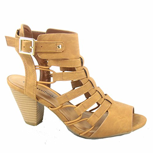 Delicious Awesome-s Women's Fashion Open Toe Strappy Gladiator Heel Low Wedge Sandal Shoes (8.5 B(M) US, (Faux Leather Strappy Heel Wedge)