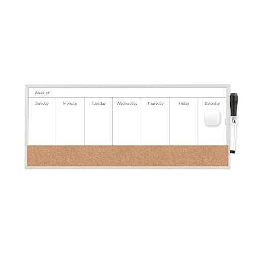 Dry Erase Weekly Planner - U Brands Magnetic Dry Erase/Cork Weekly Calendar Board, 18 x 7.5 Inches, Silver Aluminum Frame