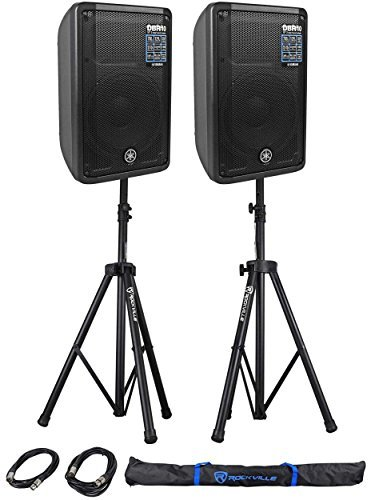 Yamaha DBR10 DBR Series 700W Bi amplified Portable Active Powered Speaker (Pair) with Ultimate speaker stands and 2 XLR Microphone (Yamaha Powered Speakers)