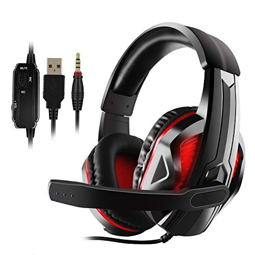 Diswoe LED Stereo Gaming Headset with Microphone,3.5mm Wired Over-Head Headphones with Mic for Xbox one PS4 PC Noise Canceling Headphones,LED Light,Volume Control,Soft Memory Earmuffs for Games