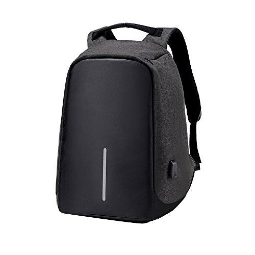 mumuxi negocios mochila para portátil antirrobo mochila impermeable hombre mujer ocio mochila USB puerto de carga para hasta teléfono inteligente y portátil de 14pulgadas negro negro negro