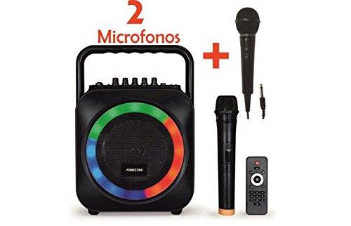 KARAOKE PORTATIL CON MICROFONO USB/SD/MP3 BOX-35LE CON 1 MICROFONO INALAMBRICO + MICROFONO DE MANO CON CABLE FDM-281 FONESTAR 006BOX35LEDX2