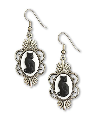 Gothic Black Cat Cameo in Silver Finish Pewter Frame Dangle Earrings
