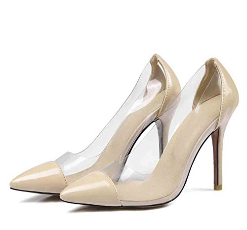 Stiletto Pointed Toe Elegant Womens Pumps Heel Apricot Easemax Stitching Patent Shoes Transparent Low Top High UfqRvnXwxY