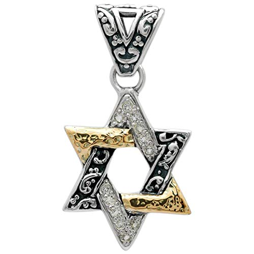 925 Silver Pendant and 18 Karat Yellow Gold Star of David Motive with 18 Kt Gold Hammer and White Topaz Stone Pave Setting for Women and Jewelry Gift, Balinese Handmade Pendant