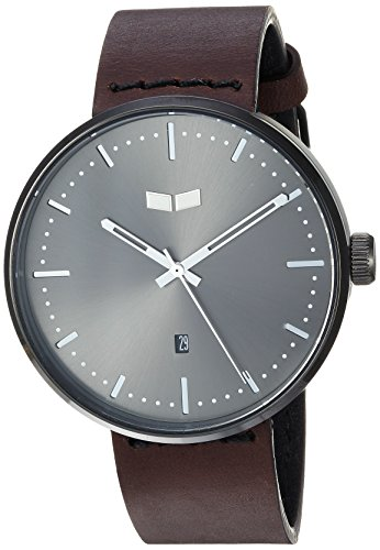 Vestal 'Roosevelt Italian' Quartz Stainless Steel and Leather Dress Watch, Color:Brown (Model: RS42L07.DB)