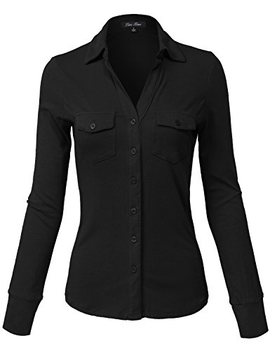 Crinkle Three Quarter Sleeve Shirt (Side Rib Panel Slim Fit Cotton Plain Button Down Shirts,140-black,Small)