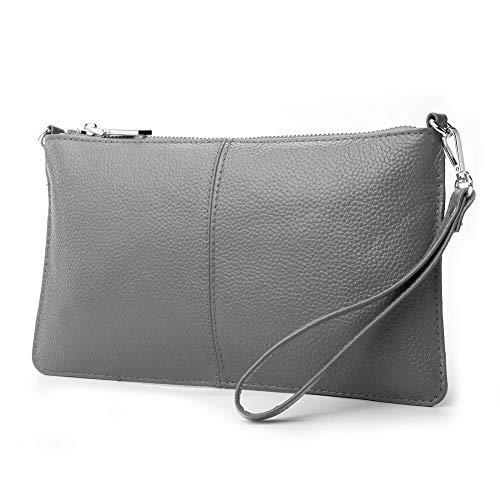 Wristlet Pouch - Lecxci Leather Crossbody Purses Clutch Phone Wallets with Card Slots for Women (Grey)