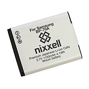 Nixxell Battery for Samsung BP70A, EA-BP70A and Samsung AQ100, DV150F, ES65, ES67, ES70, ES71, ES73, ES74, ES75, ES80, MV800, PL20, PL80, PL90, PL100, PL101, PL120, PL170, PL200, PL201, SL50, SL600, SL605, SL630, ST30, ST60, ST61, ST65, ST66, ST67, ST70,