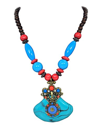 Handicraft Fashion Jewelry with Brass Pendant and Multi Color Beads Necklace for Women (Blue)