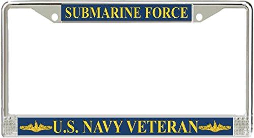 MilitaryBest U.S. Navy Submarine Force Veteran Gold Dolphins License Plate Frame