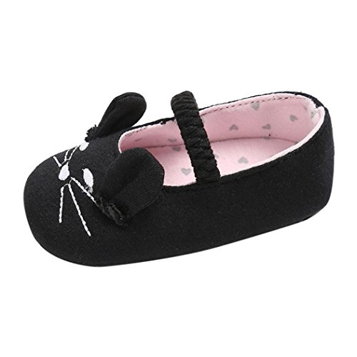 Voberry Baby Girl Soft Cloth Shoes Cat Pattern Crib Toddler Newborn Sneakers (6~12 Month, Black)