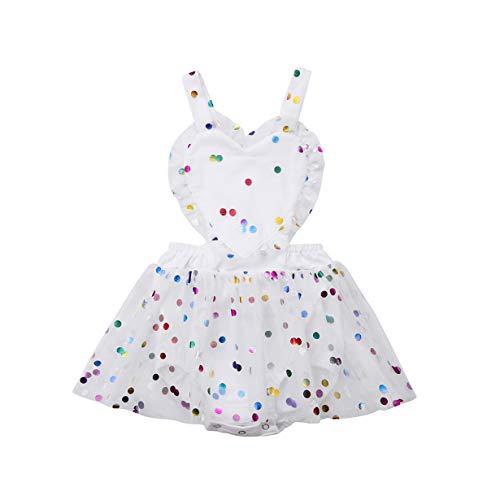 (Newborn Baby Girls Backless Suspender Heart Polka Dot Sequins Romper Tulle Dress (12-18 Months, White))