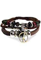 Peace Drop Beaded Leather Zen Bracelet, Adjustable, in Gift Box