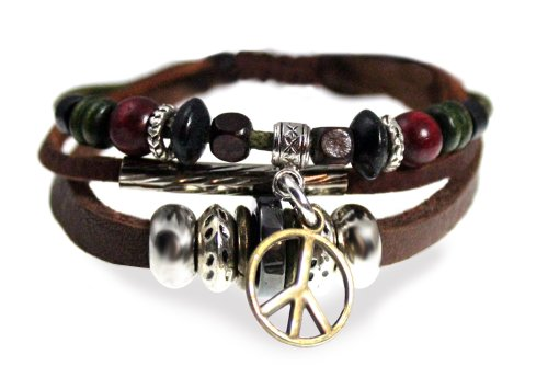 Beautiful Silver Jewelry Peace Symbol Beaded Leather Zen