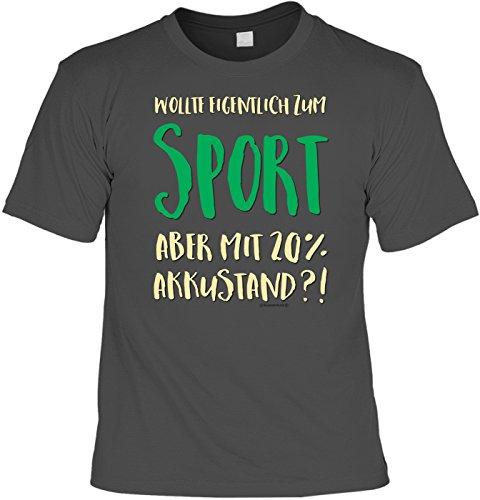 T-Shirt - Kein Sport mit 20% Akku grau - lustiges Sprüche Shirt als Geschenk für Sportler mit Humor