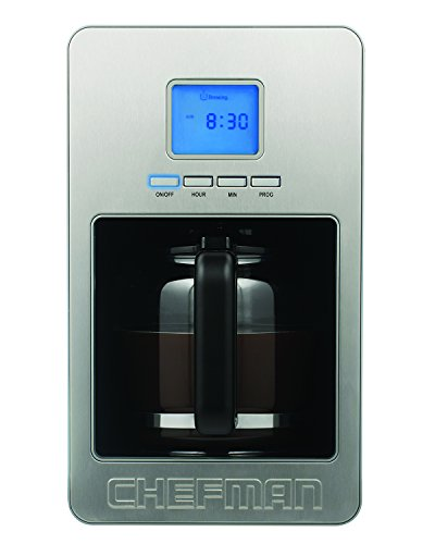 Chefman RJ14-12SS-P-Grey 12 Cup Programmable Coffee Maker with Stainless Steel Face, Grey For Sale