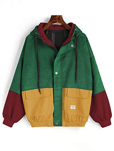ZAFUL Women's Corduroy Loose Hooded Jacket Vintage Color Blocking Raglan Sleeve Casual Coat Windbreaker Green S