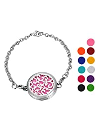 Stainless Steel Aromatherapy Essential Oil Diffuser Bracelet with Vine,Silver Tone