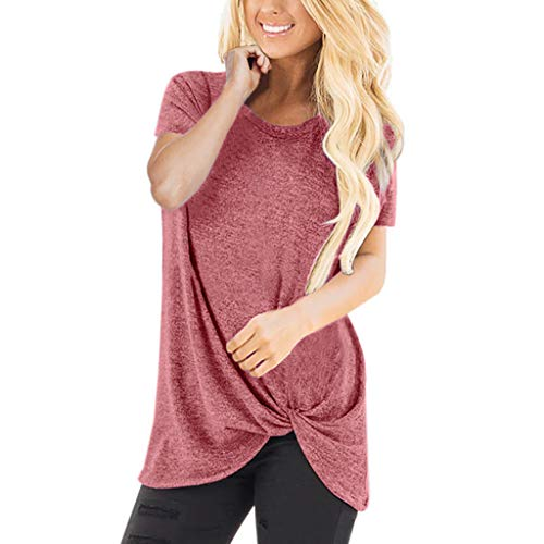HIRIRI Summer Soft Loose Women's Tops Twist Knotted Blouses Short Sleeve Round Neck Tunic T Shirt Red