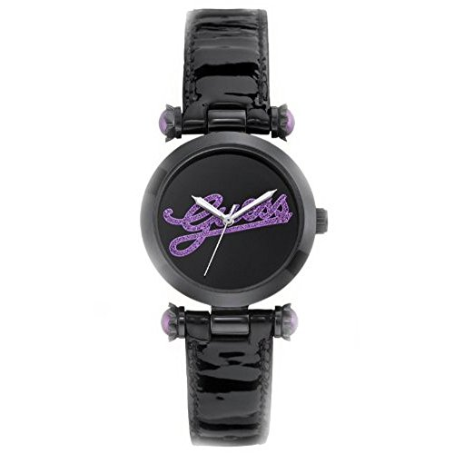 Guess Womens On Trend Iconic Style Purple Glitz Logo Black Patent Leather Strap Watch U0057L6