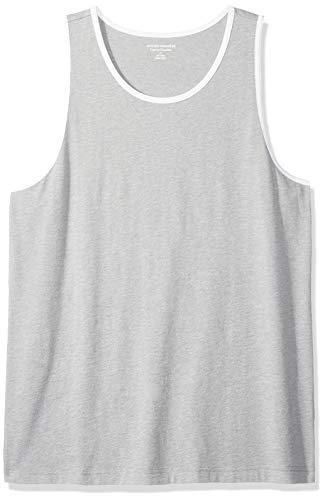 Amazon Essentials Men's Regular-Fit Ringer Tank Top, Light Gray Heather/White, ()