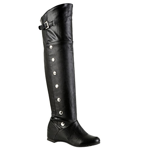 Carolbar Womens Plus Size Buckle Rivet Hidden Heel Riding Tall Boots Black UmxXMp