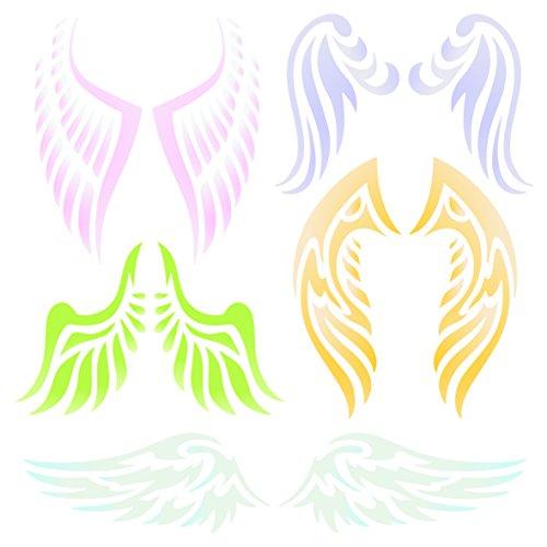 Angel Wing Stencil - 6.5 x 6.5 inch (M) - Reusable Christian Guardian Angel Wings Wall Stencil Template - Use on Paper Projects Scrapbook Journal Walls Floors Fabric Furniture Glass Wood etc.