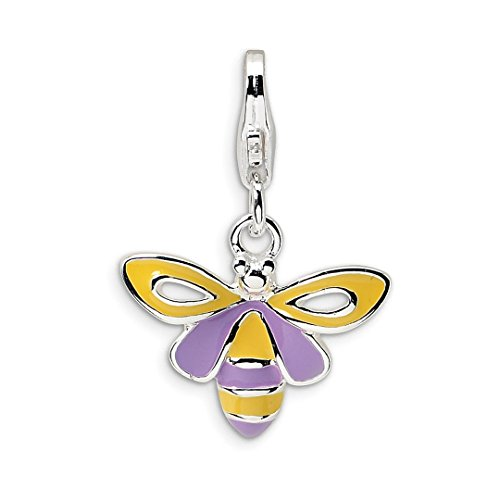 Bee Baby Charms (ICE CARATS 925 Sterling Silver Enameled Bee Lobster Clasp Pendant Charm Necklace Baby Fine Jewelry Ideal Gifts For Women Gift Set From Heart)