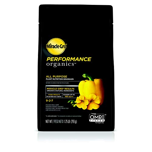 - Miracle-Gro Performance Organics All Purpose Plant Nutrition Granules - 1.75 lb. | Organic, All-Purpose Plant Food | All-Purpose Formula for Vegetables, Flowers & Herbs | Feeds Up to 165 sq. ft