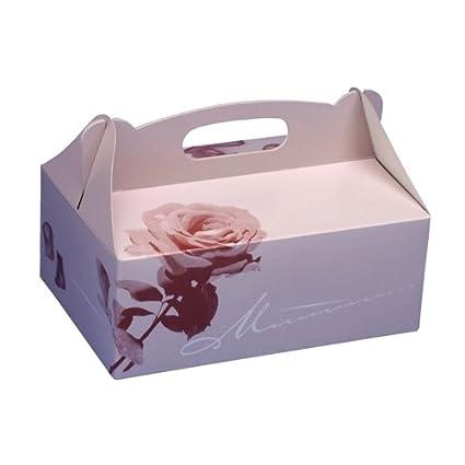 Papstar 18851 - Caja de cartón para postres con asa (20 unidades, 20 x 13 x 9 cm), diseño de rosa: Amazon.es: Hogar