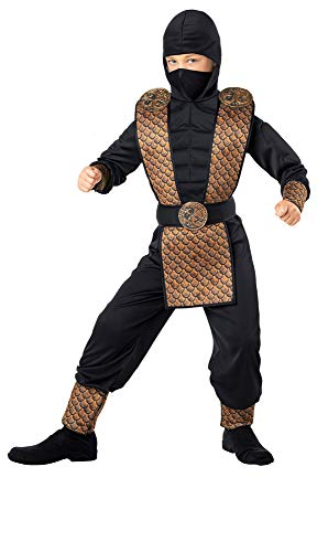 Seasons Direct Halloween Boy's Fearless Force Ninja Costume (M(8-10)) Black]()