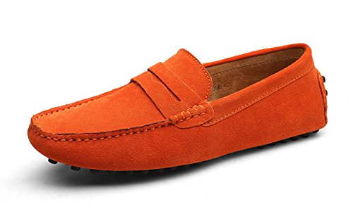 Ezkrwxn Men Penny Loafers Slip on Shoes Suede Leather Moccasins Driver Driving Shoes Fashion Office Business Casual Dress Shoes Plus Big Size Sneakers Orange Size 12.5 ()