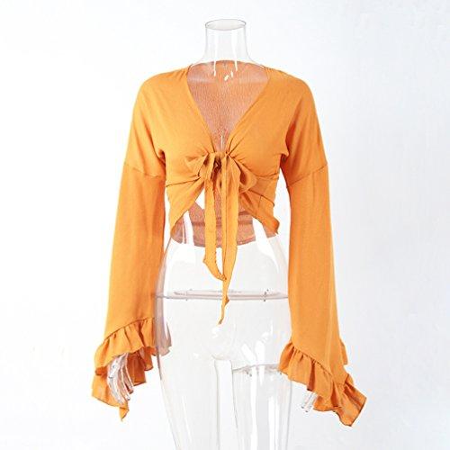 NiSeng Mujer Manga Larga Crop Top Frente Abierto Cierre de Lazo Bolero Recortada Shrug Top Amarillo