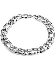 Three Keys Jewelry Mens Stainless Steel Bracelet Figaro Chain Bracelet 5mm 11mm Silver Biker Bracelet